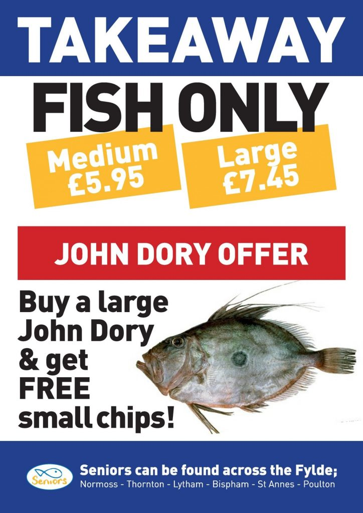 John Dory takeaway offer at Seniors fish and chips