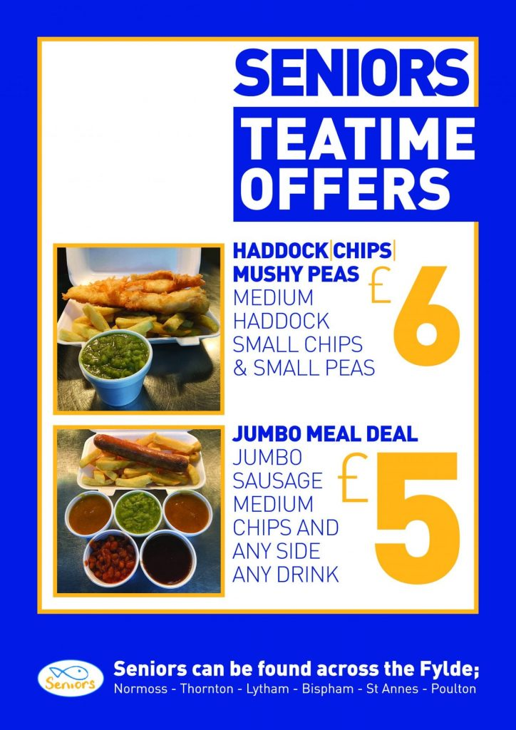 Teatime Takeaway offers at Seniors fish and chips