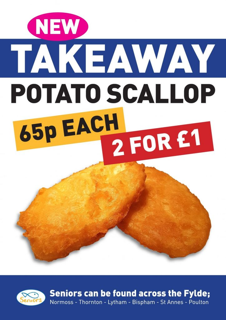 Takeaway potato scallop at Seniors Fish and Chips