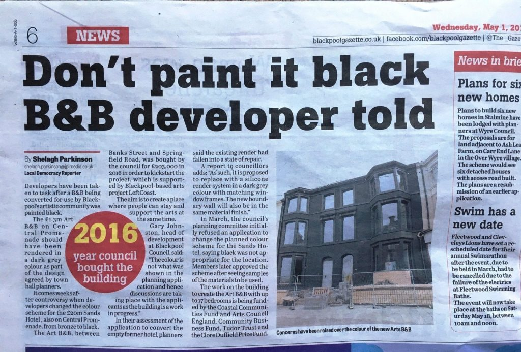 Don't paint it black - report in yesterday's paper
