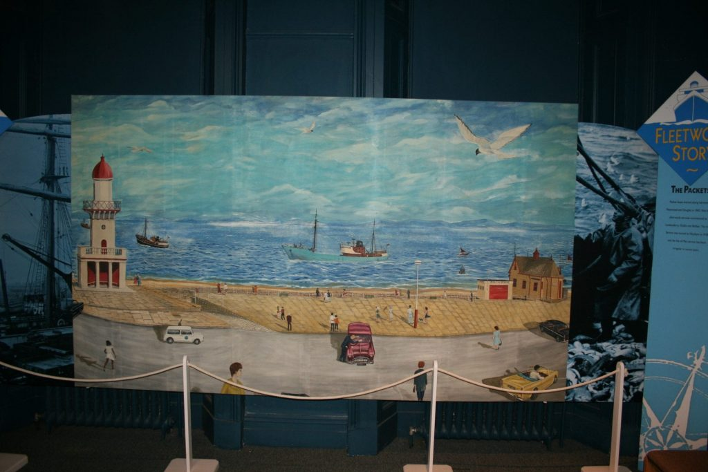 Keith Sutton painting, collected from Jacinta fishing boat, on display at Fleetwood Museum
