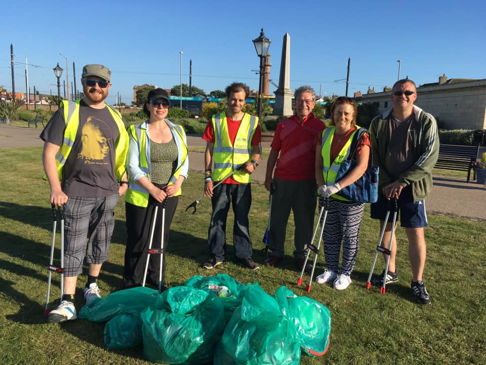 Litter pickers in Fleetwood for In Bloom