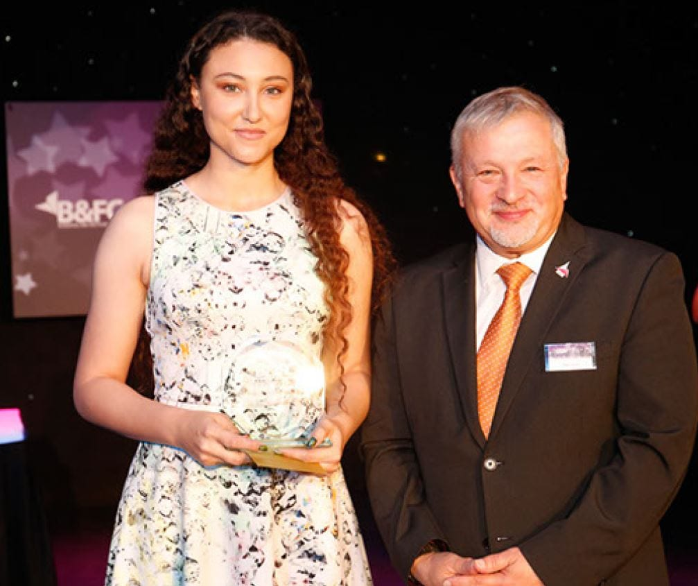 Celebrations of Outstanding Student Performance. Lorna Parry, Adult Student of the Year, with Alan Cavill