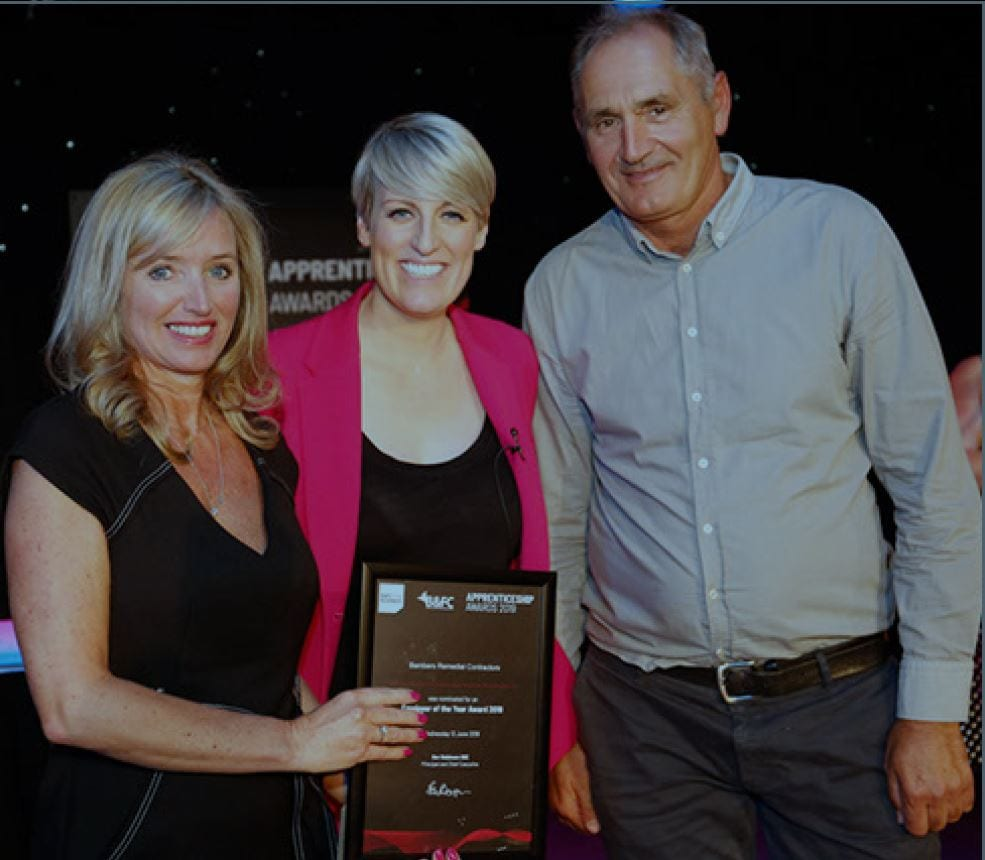 Mr & Mrs Bamber, Employer of the Year at the Annual Apprentice Awards