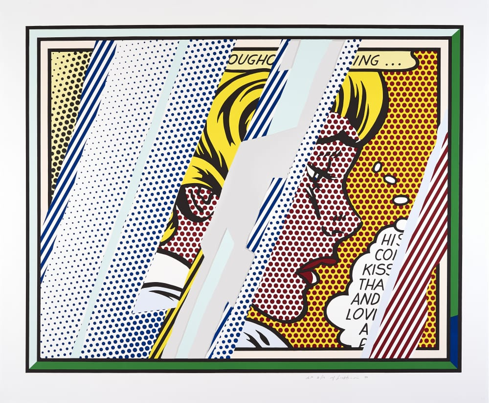 Summer 2019 Programme at Grundy Art Gallery - Roy Lichtenstein, Reflections on Girl, 1990. ARTIST ROOMS Tate and National Galleries of Scotland. Lent by The Roy Lichtenstein Foundation Collection 2015. © Estate of Roy Lichtenstein/DACS 2019. Photo ©John McKenzie.