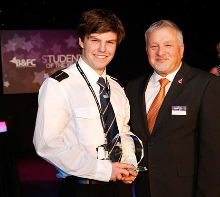 Celebrations of Outstanding Student Performance. William Clarke, Student of the Year, with Alan Cavill, Chair of the B&FC Board