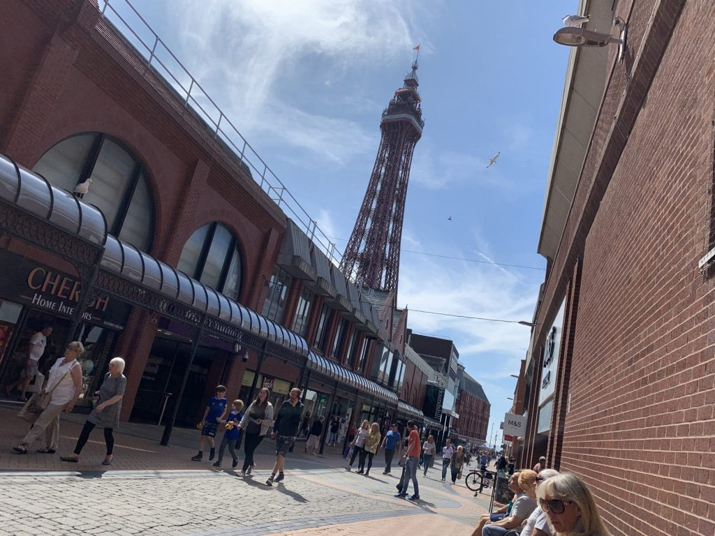 Houndshill Shopping Centre and The Blackpool Tower, in Blackpool Town Centre