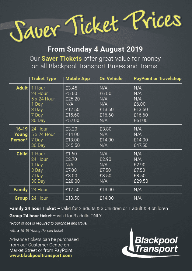 Blackpool Transport Saver Ticket Prices Aug 2019