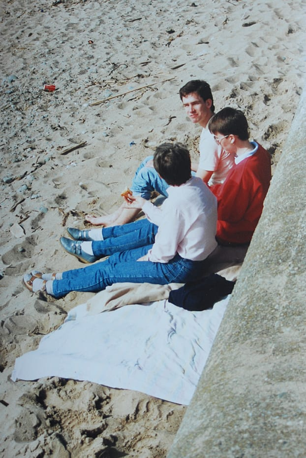 Partners in Crime on Cleveleys beach, many years ago on a day trip
