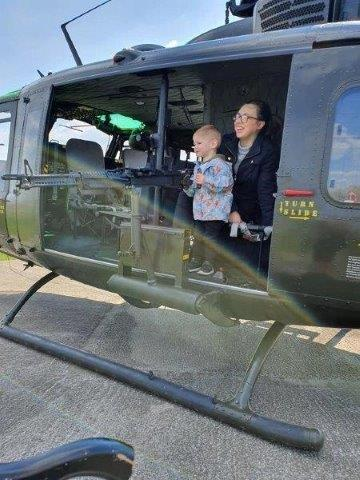 Kids love looking inside the helicopter