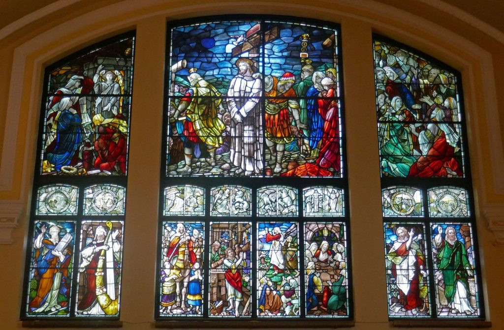 Stained glass window from inside The White Church at Fairhaven. Photo: Sue Massey