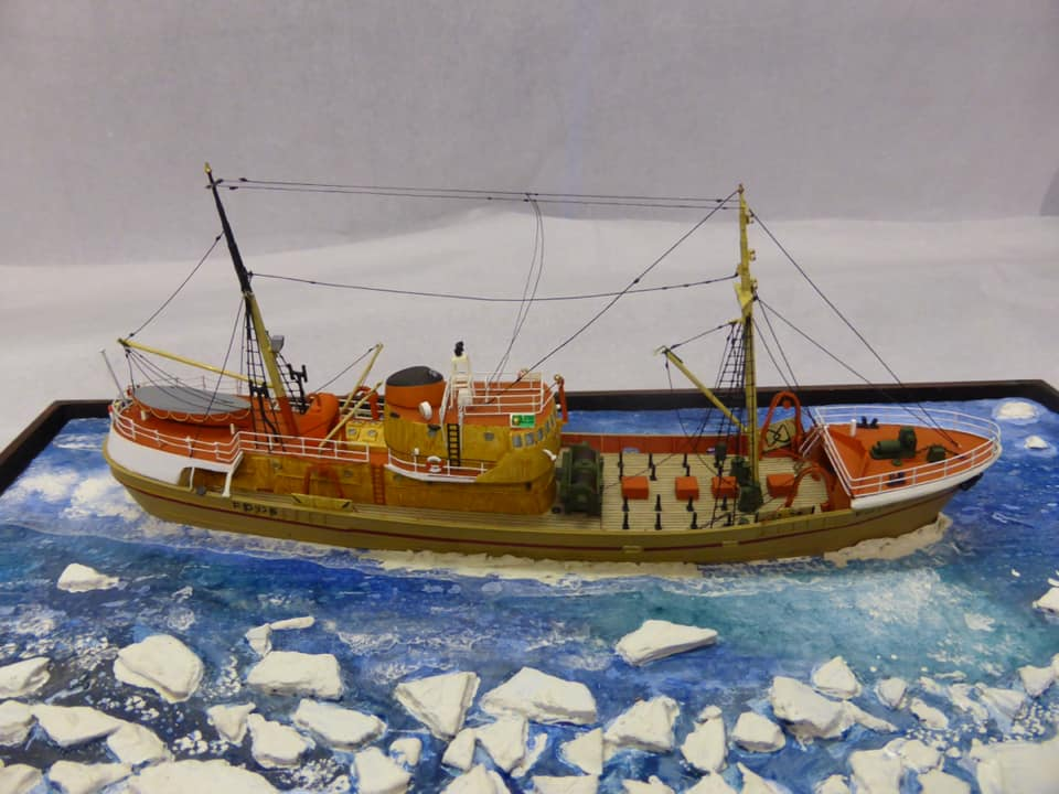 FD175 Luneda model trawler from the Lofthouse Collection on display at Fleetwood Museum