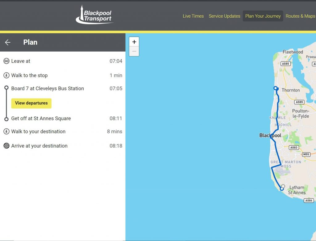 Plan your journey using the Blackpool Transport website