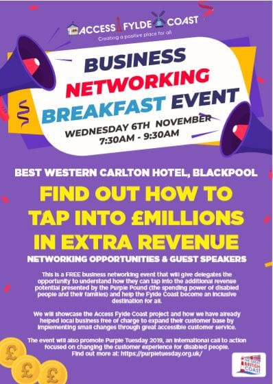 Purple Pound Business Networking Event, hosted by Access Fylde Coast