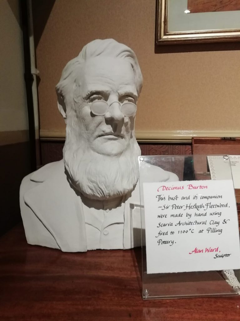 Decimus Burton, architect of Fleetwood. Bust on display at Fleetwood Museum