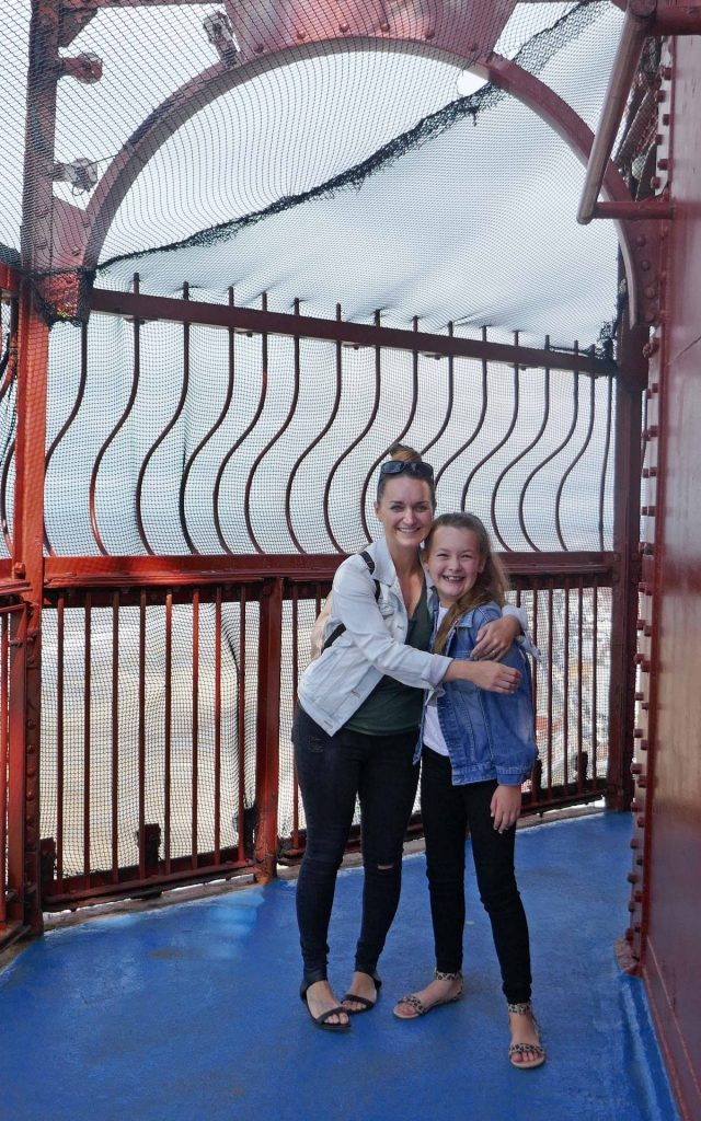 Visiting the top of Blackpool Tower. Mum Sarah with Freya