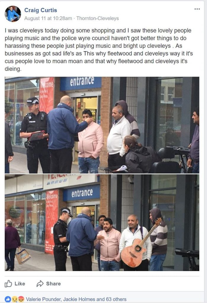 Post from Thornton Cleveleys Chat when the buskers were moved on