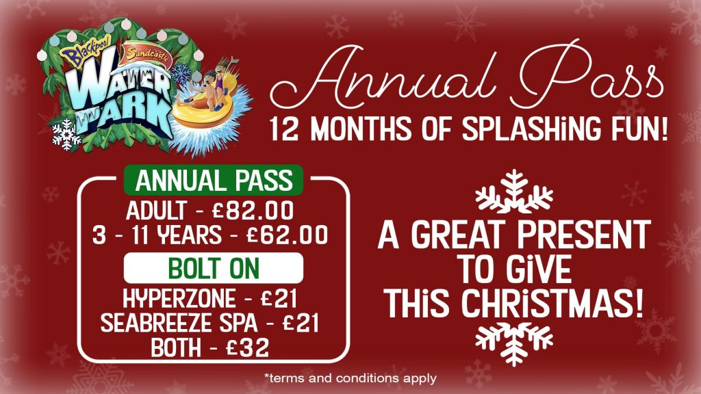 Annual Pass for Sandcastle Waterpark, great Christmas gift