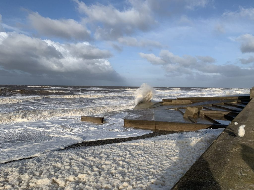 Foam blowing at Cleveleys