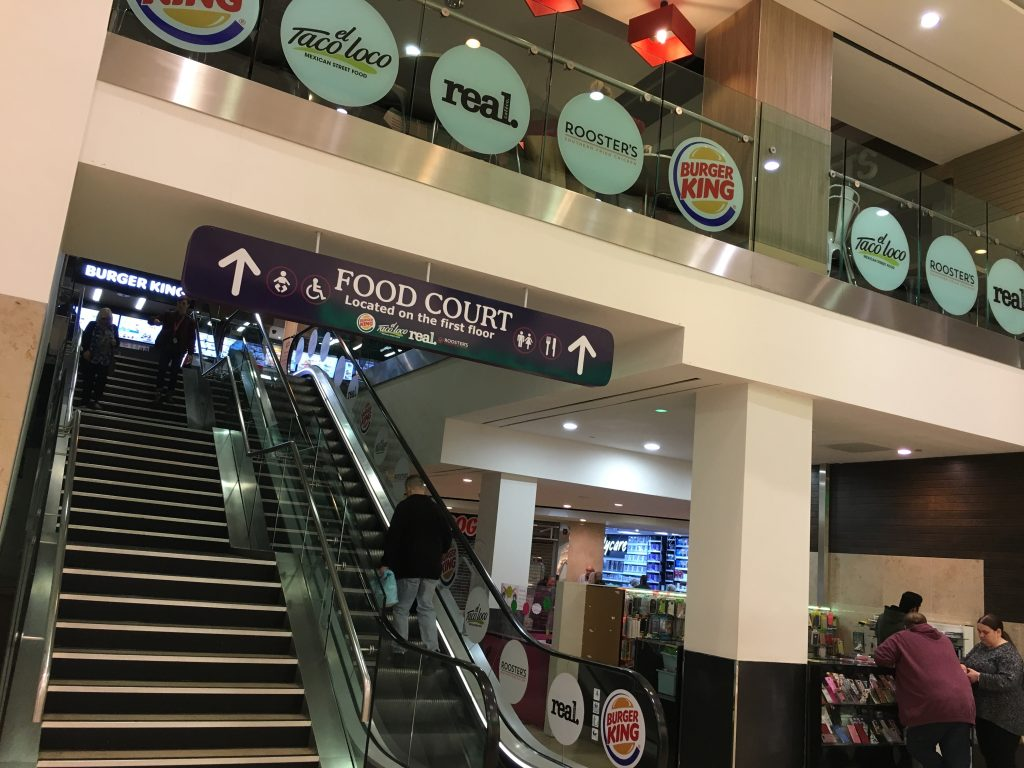 Escalator and stairs to Food Court and toilets