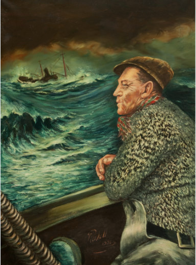 Fisherman painting by Tom Roskell 1978. Copyright: Fleetwood Museum