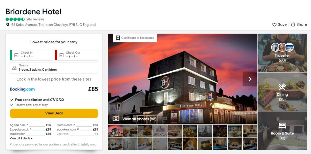 Briardene Hotel ratings on Tripadvisor